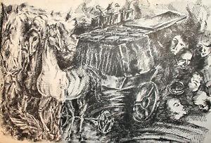 1993 Surrealist fantasy ink painting horses figures portrait signed
