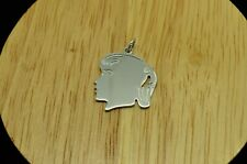 SILVER PLATED GIRL WITH PONYTAIL PROFILE PENDANT CHARM #X24213