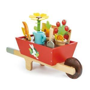 NEW Tender Leaf Toys Wooden Garden Wheelbarrow Set - Plant Play