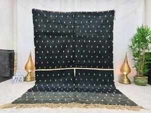 """Boujaad Handmade Moroccan Vintage Rug 6'3""""x9'3"""" Berber Dotted Black Wool  Carpet"""