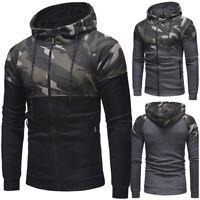 Men Camo Hoodies Fleece Jacket Sweatshirt Zip Up Hooded Coat Outwear Jumper Tops