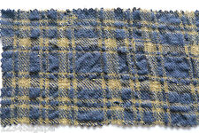 C145 WOOL & COTTON BLEND SEERSUCKER OLIVE GREEN & NAVY PLAID CHECK MADE IN ITALY