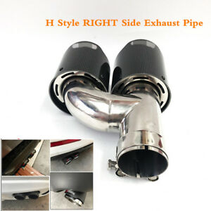 63mm/89mm 100% Carbon Fiber H Style RIGHT Side Exhaust Pipe Tail Muffler Tip