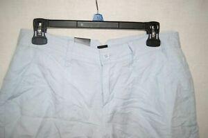 NWT CALVIN KLEIN JEANS LINEN DRESS SHORTS 4 Pockets Saphire Ice Size 8