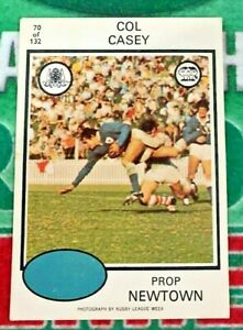1975 Scanlens Rugby League Card No 70 Col CASEY Newtown