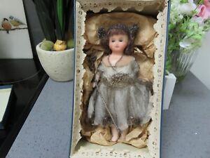 Antique Wax Head Doll Vintage Old Christmas Fairy  in original box 22cm tall