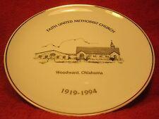 """8"""" Porcelain Collector Plate Faith United Methodist Church '94 Woodward Ok [Z61]"""