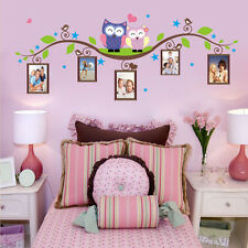 Owls Branch Photo Frames Wall Art Sticker PVC Decals Kids Room Mural Home Decor