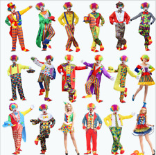 Adult Mens Womens Clown Jester Circus Carnival Costume Outfit + Hat Fancy Dress