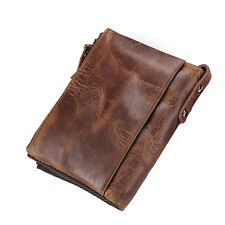 Nice Genuine Crazy Horse Cowhide Leather Wallet Short Coin Purse Small Vintage