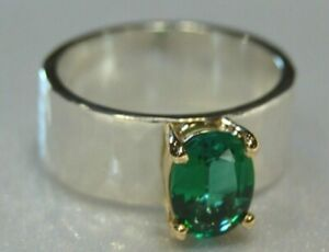 James Avery Julietta Ring with Emerald in Sterling Silver & 14k Gold Size 5 1/2