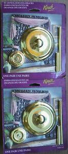 2 Kirsch Brass Drapery Holdbacks  Scarfholders NEW 1 Pair of 2 Per Pack 5460-63