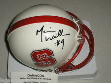MARIO WILLIAMS Signed NC STATE Wolfpack MINI Football HELMET Auto SUPER BLOWOUT