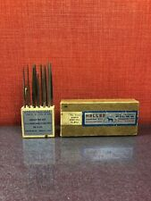 "Vintage Heller 12pcs 5 1/2"" Assorted Needle Files No. 0 Cut Wood Stand MINT#2612"