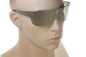 VERSACE MEDUSA 2206 1001/5A Men LARGE Wraparound Sunglasses GUNMETAL GOLD MIRROR