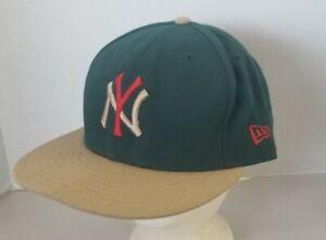New York Yankees New Era 59Fifty Fitted Green Baseball Cap Headwear Sz 8