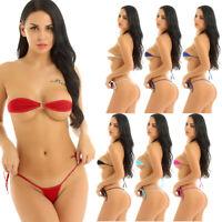 Womens 2 Pieces Bikini Set Bandeau Bra Top and Tie Sides Micro Thongs Swimsuit