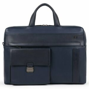 Man briefcase Piquadro Falstaff CA5441S111 business large bag in blue leather