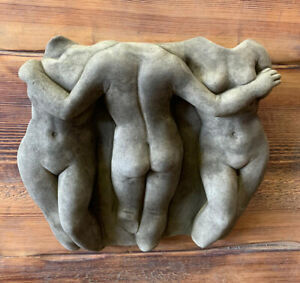 STONE GARDEN 3 TRIO NUDE NAKED LADY WOMAN WALL PLAQUE ORNAMENT