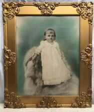 VTG Victorian Antique Ornate Gold Guild Wood Chalk Frame Young Girl Portrait