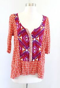 Akemi + Kin Anthropologie Orange Ikat Geometric Print V Neck Top Blouse Size L​