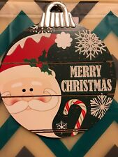 🎅🏼Glitter Santa Merry Christmas Ornament Decorative Wood Wall Sign ❄️
