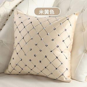 Stylish Grid Checks Embroidered Plaid Pillow Case Home Sofa Decor Cushion Cover