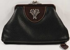 Vintage BRIGHTON Black/Brown Leather Clutch Purse, Petite Bag or Lg. Coin Purse