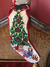 Collectible Needle Point Stocking Tree With Train