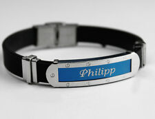 PHILIPP - Mens Silicone & Blue Name Plate Engraved Bracelet - Friendship Gifts