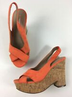 WOMENS NEXT ORANGE SUEDETTE SLINGBACK HIGH WEDGE HEEL PLATFORM SANDALS UK 6 EU39
