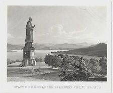 1843 SAN CARLO BORROMEO Arona acquatinta Louis Cherbuin Lago Maggiore Artaria