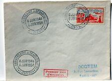 Yt 983 WW2  LION S/ MER  DEBARQUEMEMENT  OBLI 1° JOUR 1954 FDC FRANCE ENVELOPPE