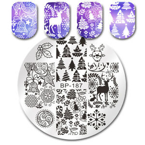 BORN PRETTY Round Nail Art Stamp Plates Xmas Tree Jingle Bell Deer  DIY