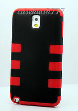For Samsung Galaxy Note III 3 black red soft hard case 2 layers heavy duty %