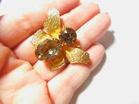 Light Brown Prong Set Rhinestone Gold Tone Metal Butterfly Moth Brooch Vintage
