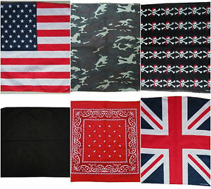 Bandana Scarf Paisley, Camouflage, Union Jack, American, Pirate Skull, Bandanna