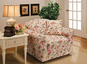 """JERSEY """"STRETCH"""" CHAIR COVER SLIPCOVER-LAZY BOY-PINK FLORAL-10 SOLIDS & 3 PRINTS"""