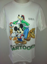 """2 Womens Disney Mickey Mouse T-shirts M Blue Donald Gooffy Pluto Tops 39"""" Chest"""
