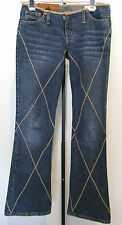 ROCK & REPUBLIC Rare Blue Denim Jeans With Beige Stitching Size 25
