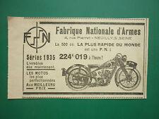 10/1934 PUB FN FABRIQUE NATIONALE D'ARMES HERSTAL MOTO 500CC MOTORRAD AD