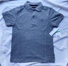 Calvin Klein Big Boy  7 Short Sleeve Collar Polo Tee Shirt Grey Kid Designer CK