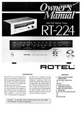 Rotel RT-224 Tuner Owners Instruction Manual