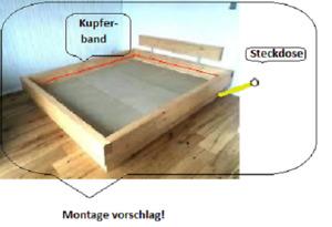 Elektrosmog Abschirmung  für Bett 1,40m x 2,00m Kupferband-Rahmen