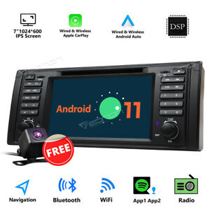 CAM+For BWM 5 Series E39 Android Auto 11 Car Play Stereo Radio Head Unit GPS DVD