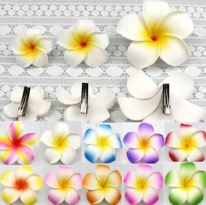 """Bulk Hawaiian Frangipani Plumeria Foam Head Flower Party Beach Hair Clip 2""""-3.5"""""""