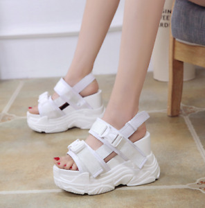 Summer Lady Peep Toe High Wedge Heel Ankle Strap Sandal Platform Slingback Shoes