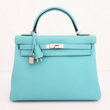 HERMES KELLY BLUE ATOLL LAGOON 32 TOGO LEATHER BAG NEW