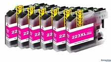 6 Magenta Compatible Ink Cartridges For Brother LC223M NON-OEM