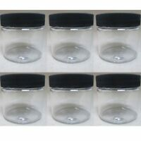 6 PET Plastic 2 Oz Empty Clear Containers Cosmetic Jars Cap Creams Makeup Travel